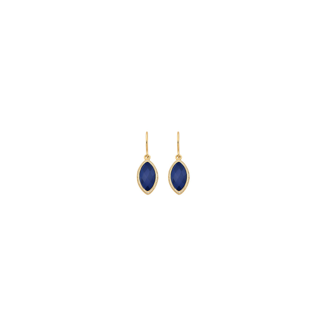 Lapis Marquise Drop Earrings - Gold
