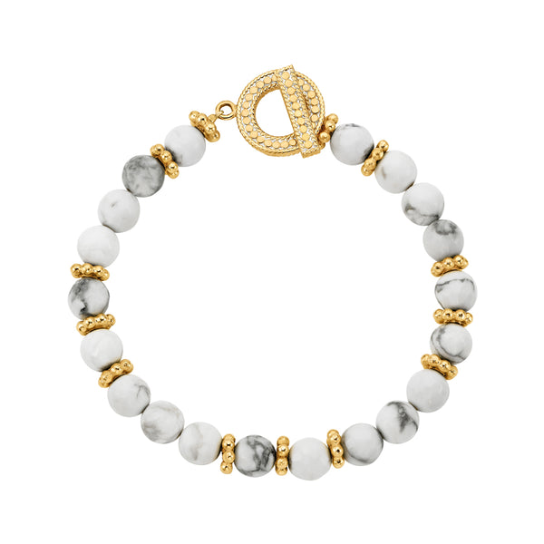 Howlite Large Beaded Bracelet