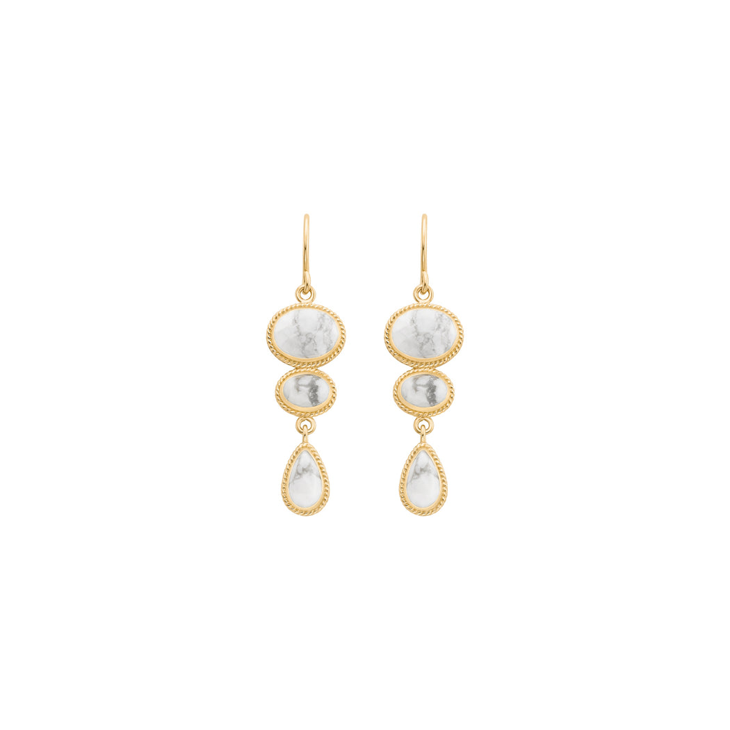 Howlite Multi-Stone Drop Earrings