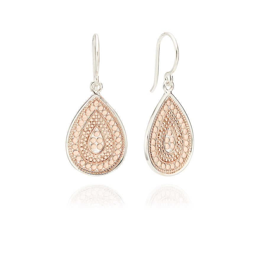 Medium Divided Dotted Teardrop Earrings - Rose Gold