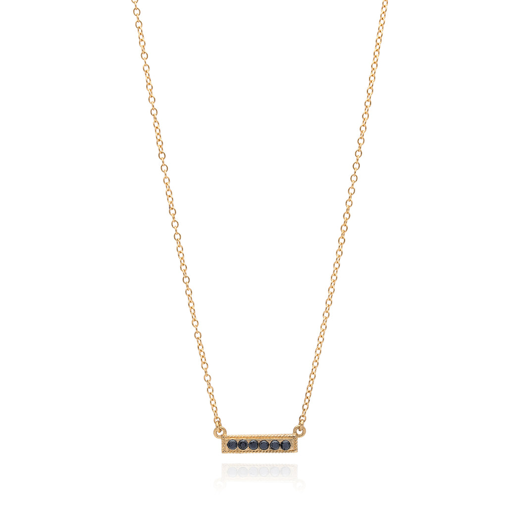 Hematite Pavé Bar Stacking Necklace - Gold