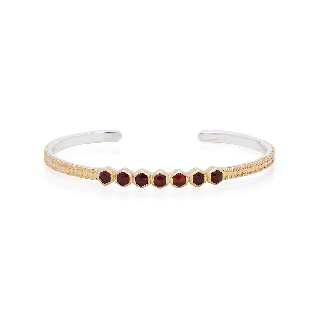 Garnet Geo Multi-Stone Stacking Cuff - Gold