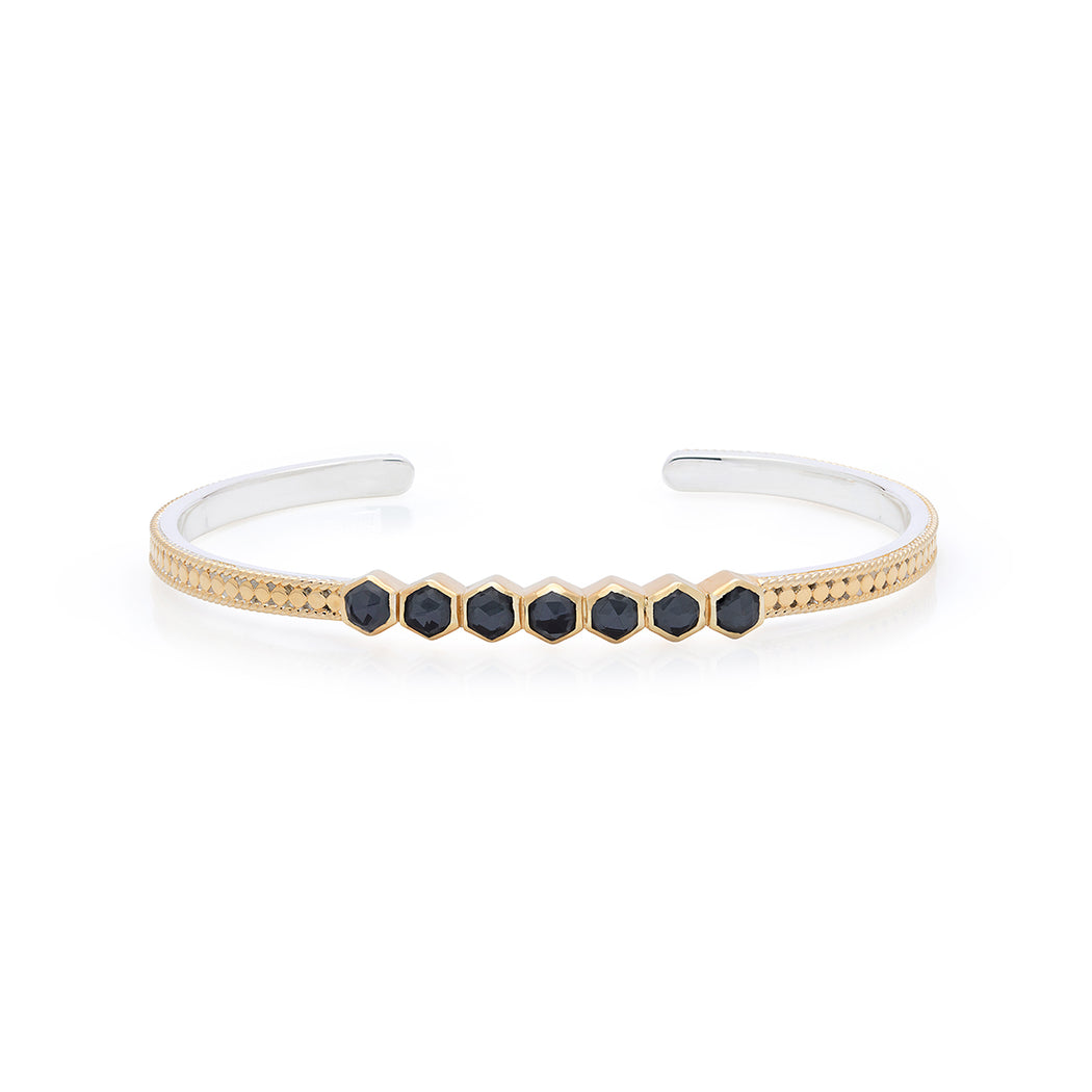 Hematite Geo Multi-Stone Stacking Cuff - Gold