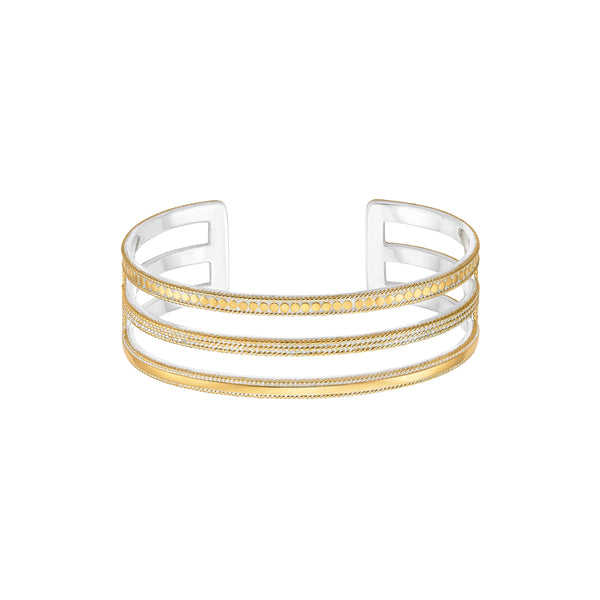 Divided Triple Bar Cuff - Gold