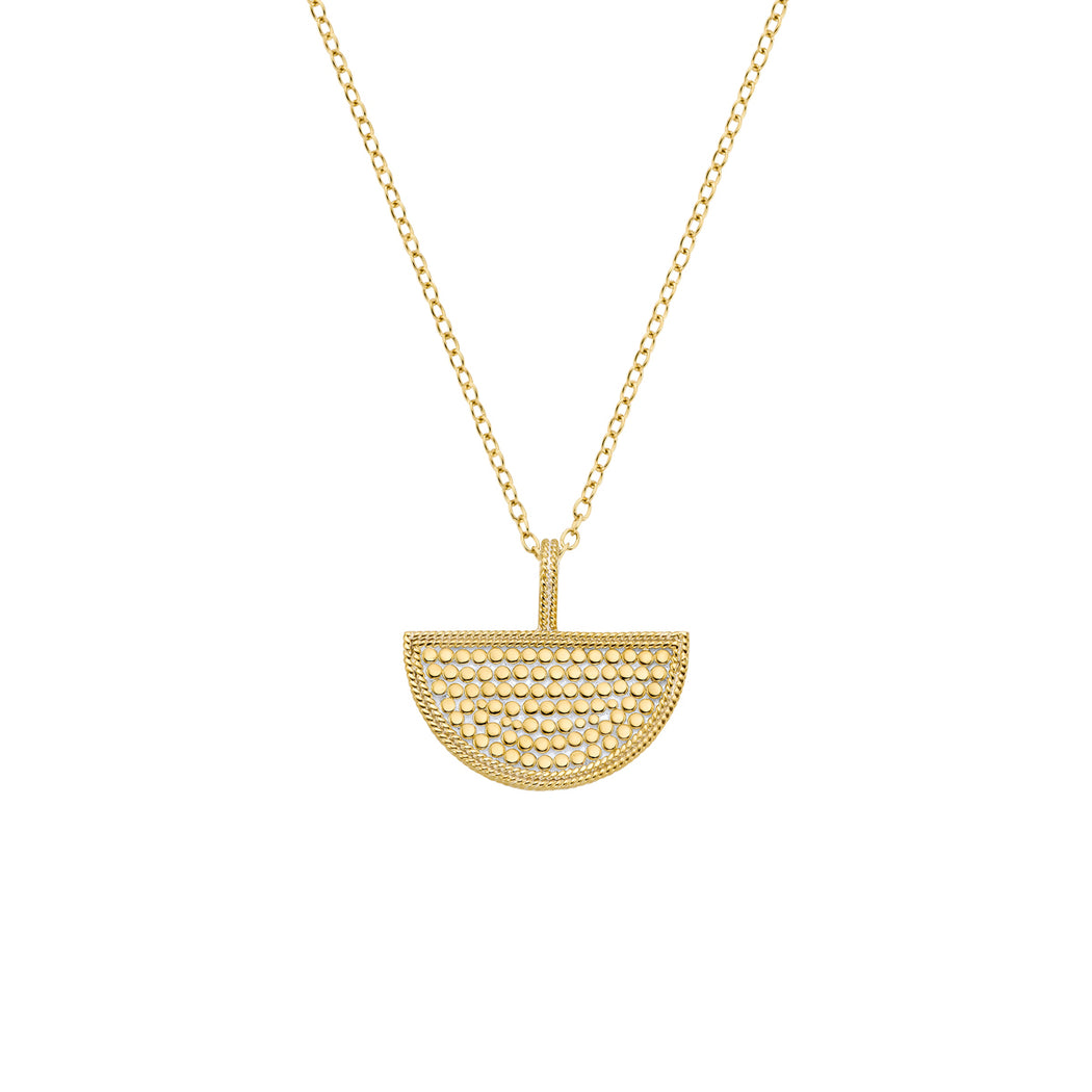 Half Moon Divided Reversible Necklace - Gold