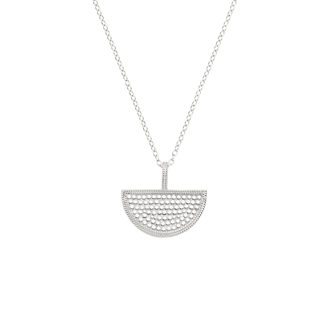 Half Moon Divided Reversible Necklace - Silver
