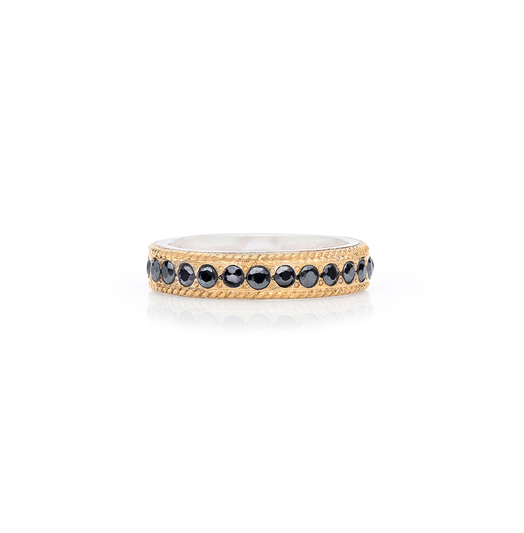 Hematite Pavé Stacking Band - Gold