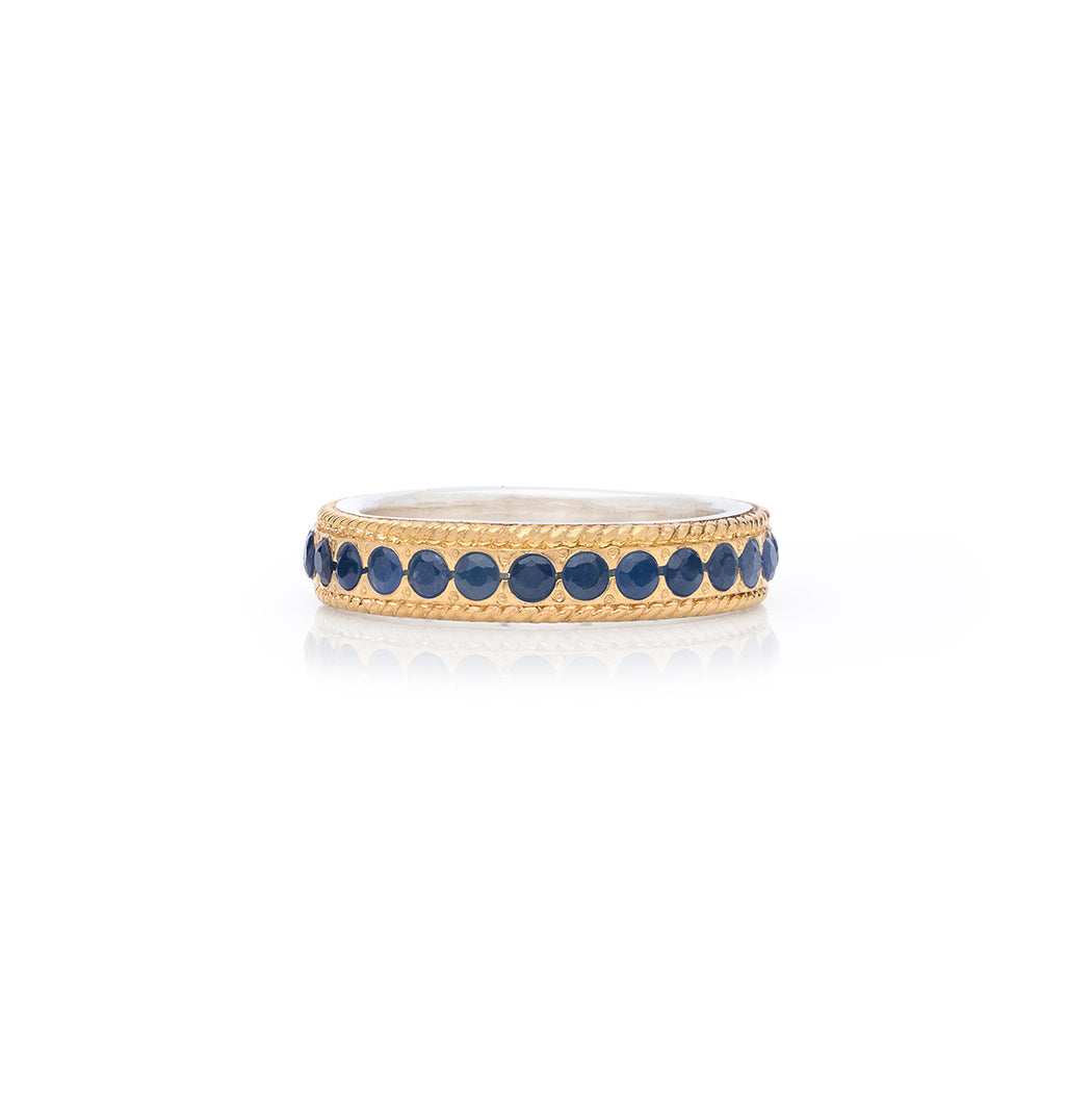 Blue Sapphire Pavé Stacking Band - Gold