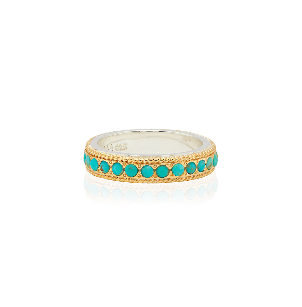 Turquoise Pavé Stacking Ring - Gold