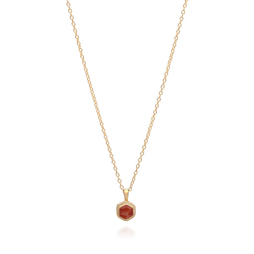 Garnet Geo Stacking Necklace - Gold