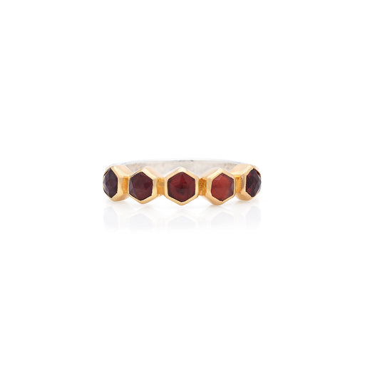 Garnet Geo Multi-Stone Stacking Ring - Gold