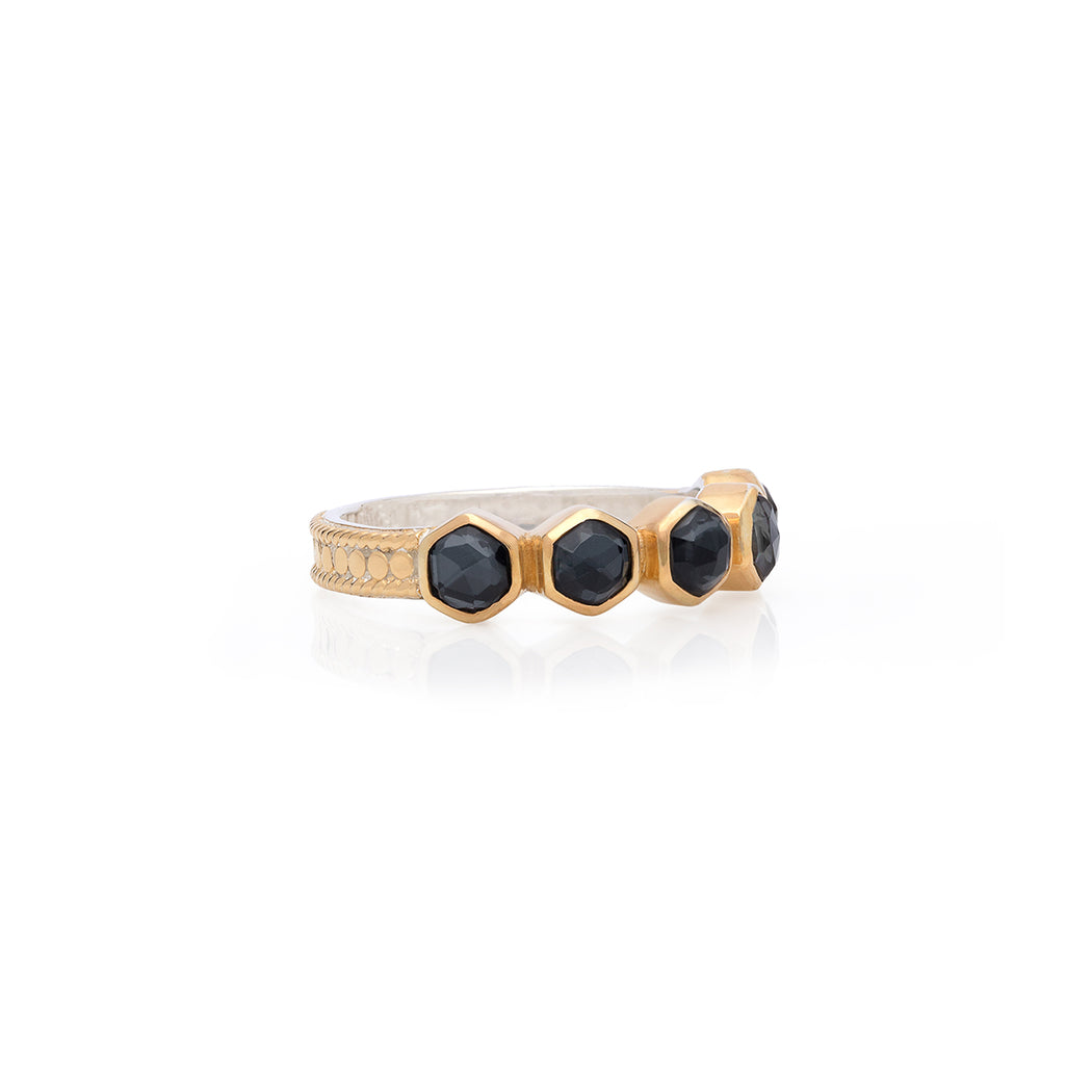Hematite Geo Multi-Stone Stacking Ring - Gold