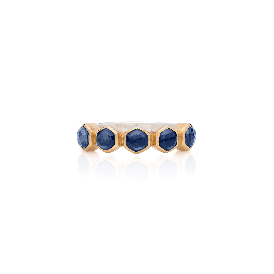 Blue Sapphire Geo Multi-Stone Stacking Ring - Gold