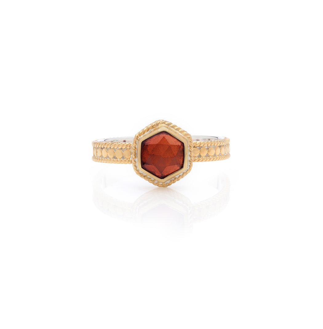 Garnet Geo Single Stone Stacking Ring - Gold