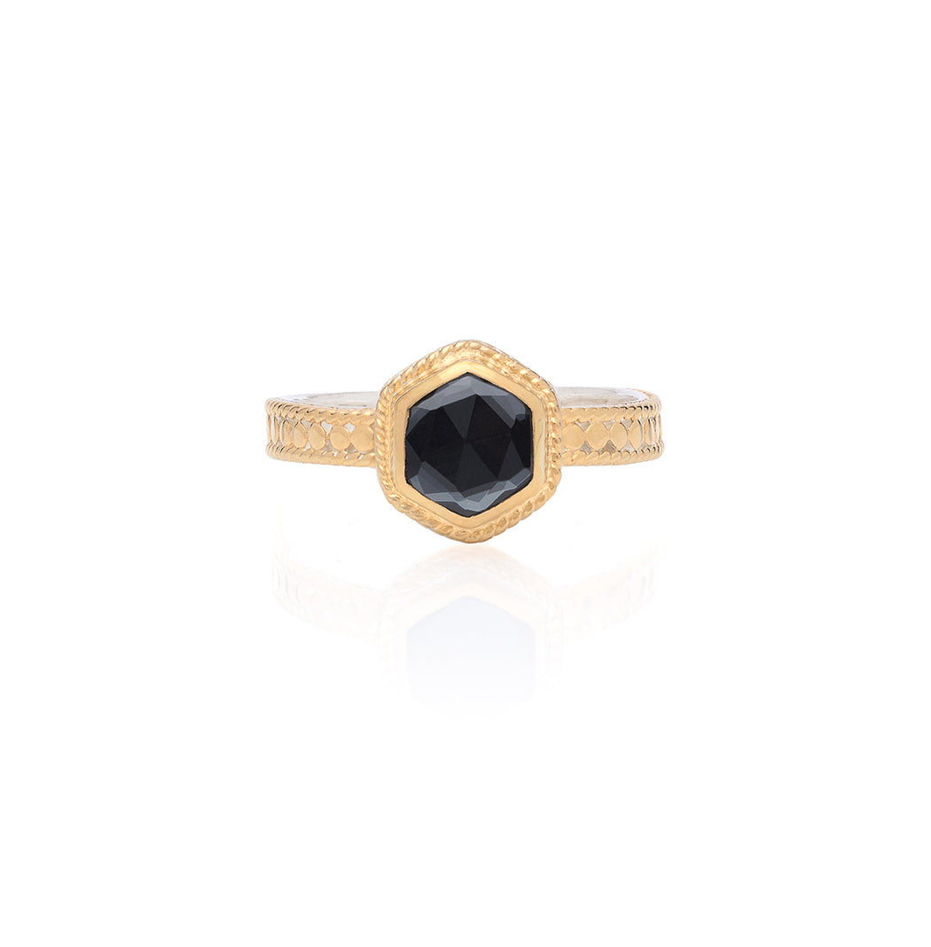 Hematite Geo Single Stone Stacking Ring - Gold