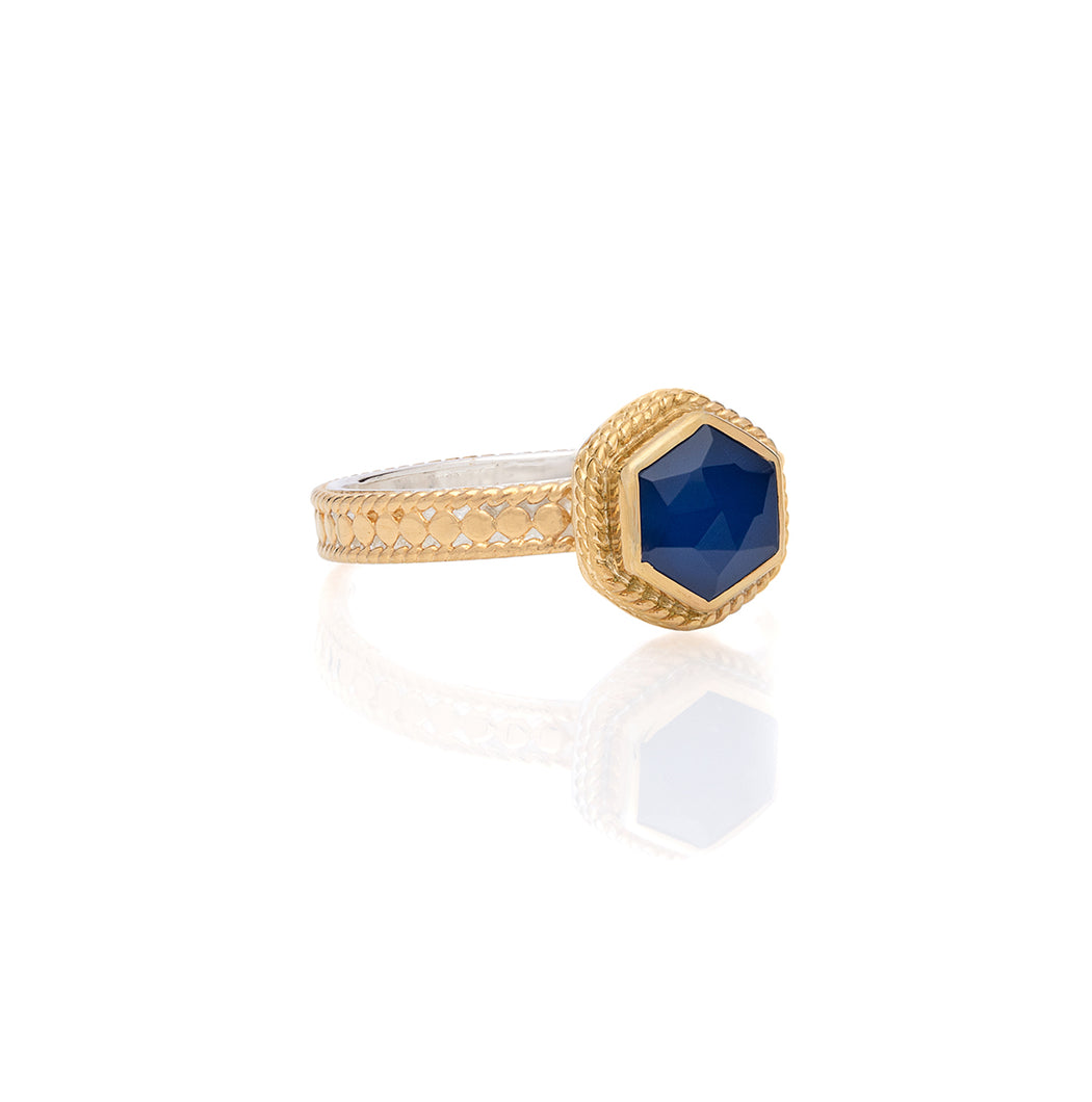 Blue Sapphire Geo Single Stone Stacking Ring - Gold
