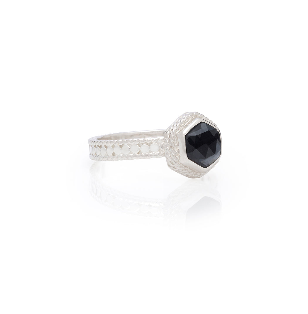 Limited Edition: Hematite Geo Single Stone Stacking Ring - Silver
