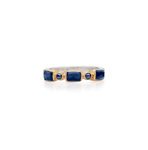 Blue Sapphire Mosaic Stacking Ring - Gold