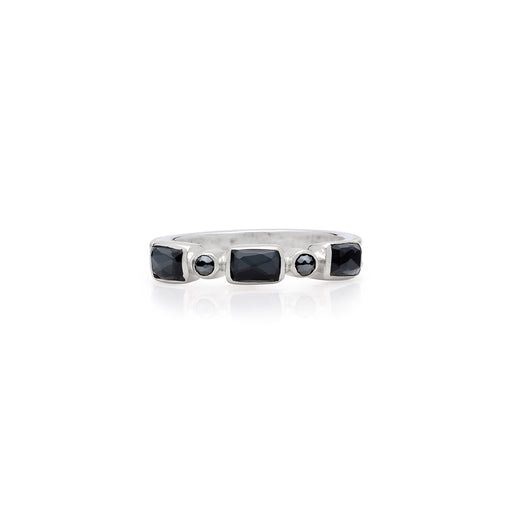 Limited Edition: Hematite Mosaic Stacking Ring - Silver