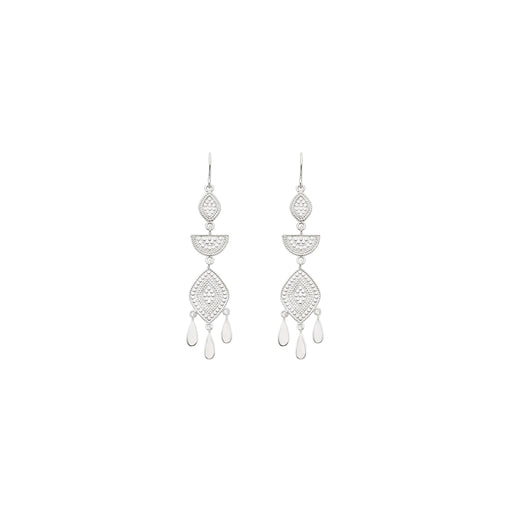 Multi-Shape Chandelier Drop Earrings - Silver
