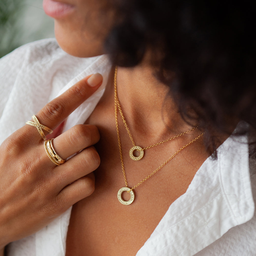 "Circle of Life Mini Open ""O"" Necklace - Gold"