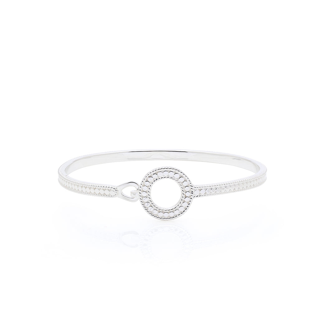 Circle of Life Open Hook Clasp Bracelet - Silver