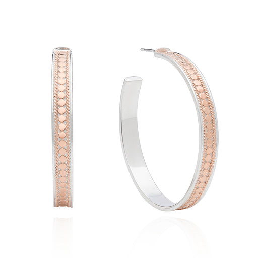 Large Hoop Post Earrings - Rose Gold