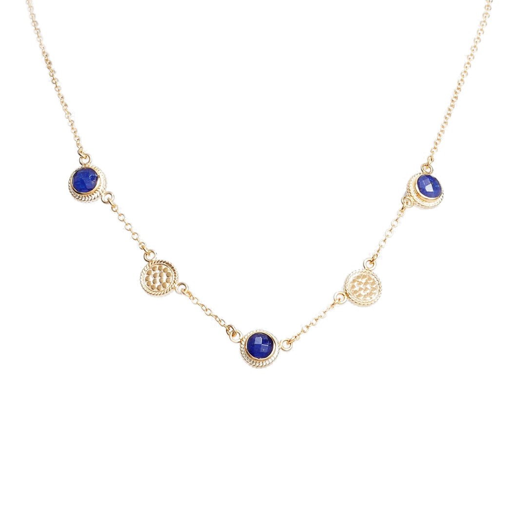 Lapis Station Collar Necklace