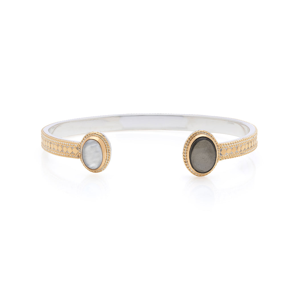 Smoky Pyrite & Mother of Pearl Open Cuff - Gold