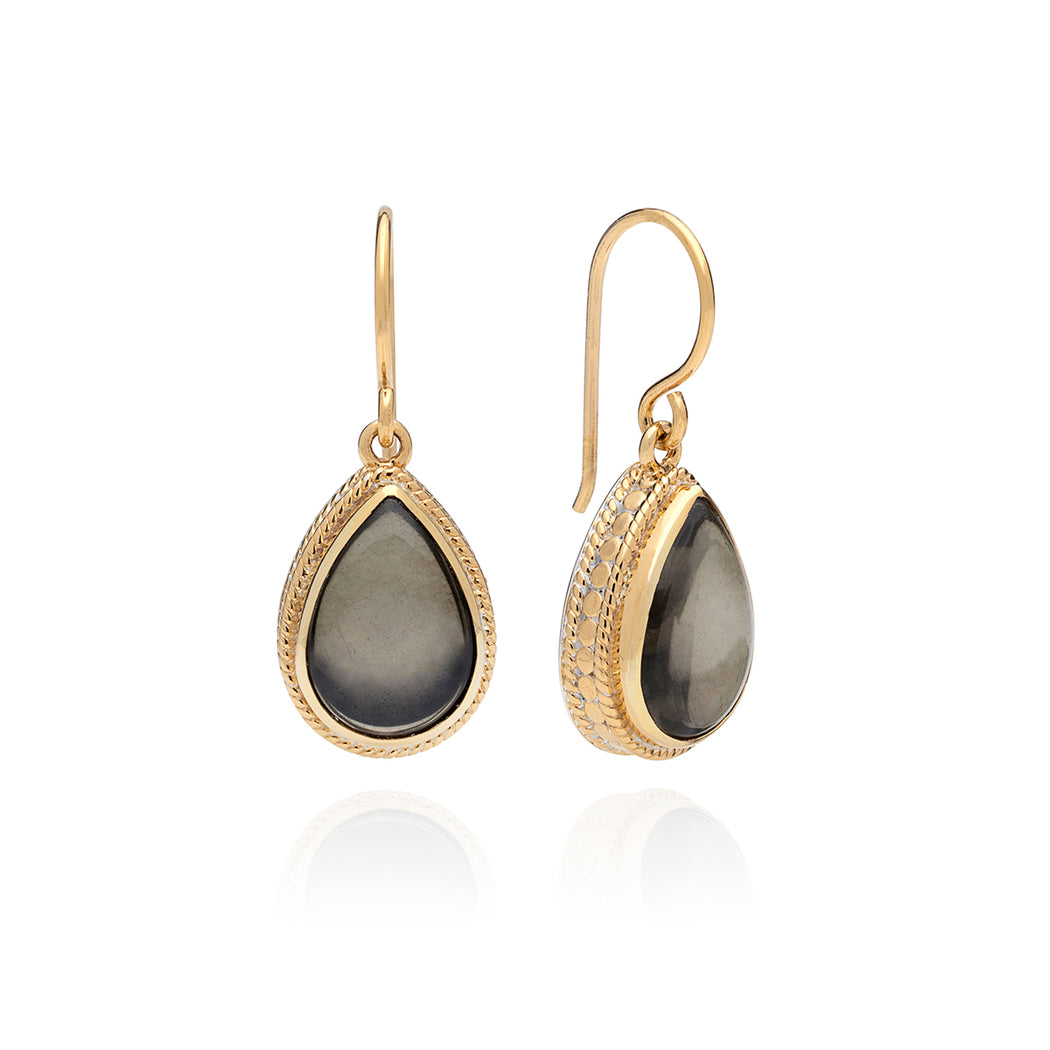 Smoky Pyrite Drop Earrings - Gold