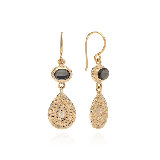 Smoky Pyrite Double Drop Earrings - Gold