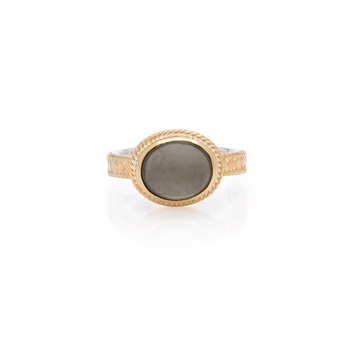 Smoky Pyrite Oval Ring - Gold