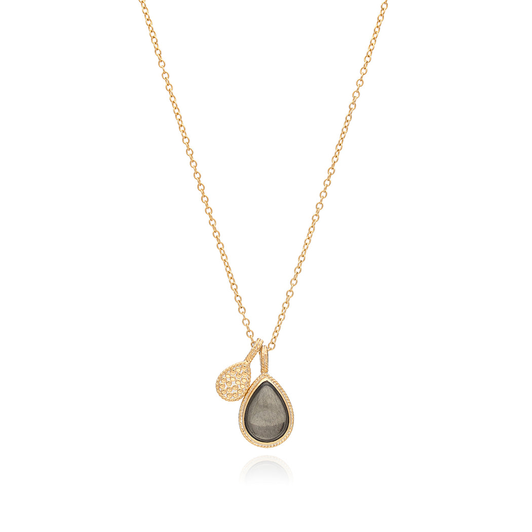 Smoky Pyrite Double Drop Pendant Necklace - Gold