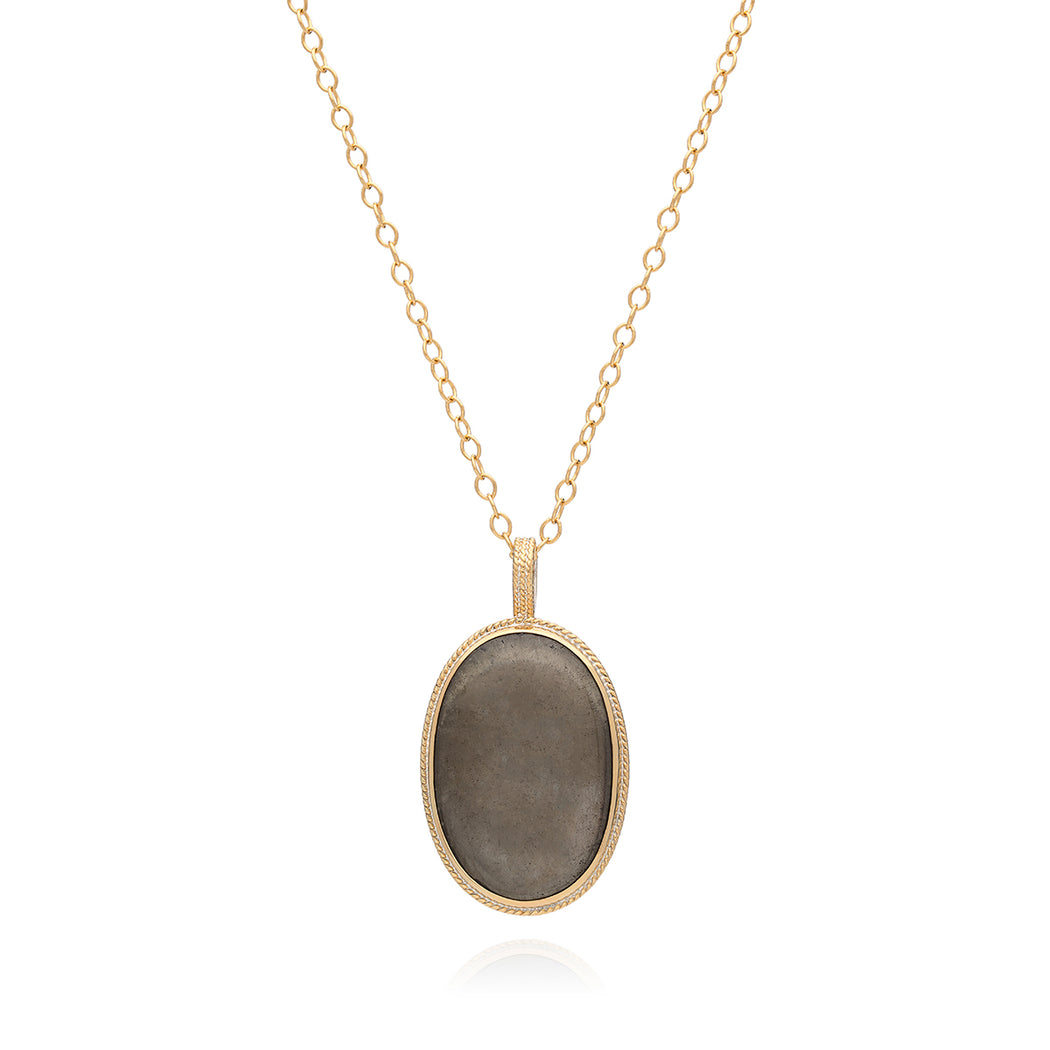 Smoky Pyrite Pendant Necklace, Long - Gold