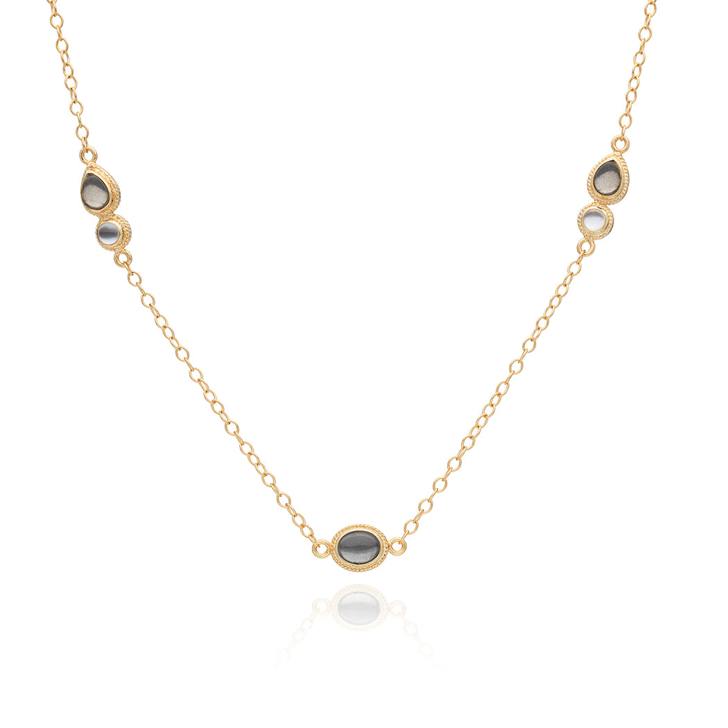 Smoky Pyrite & Mother of Pearl Station Necklace - Gold