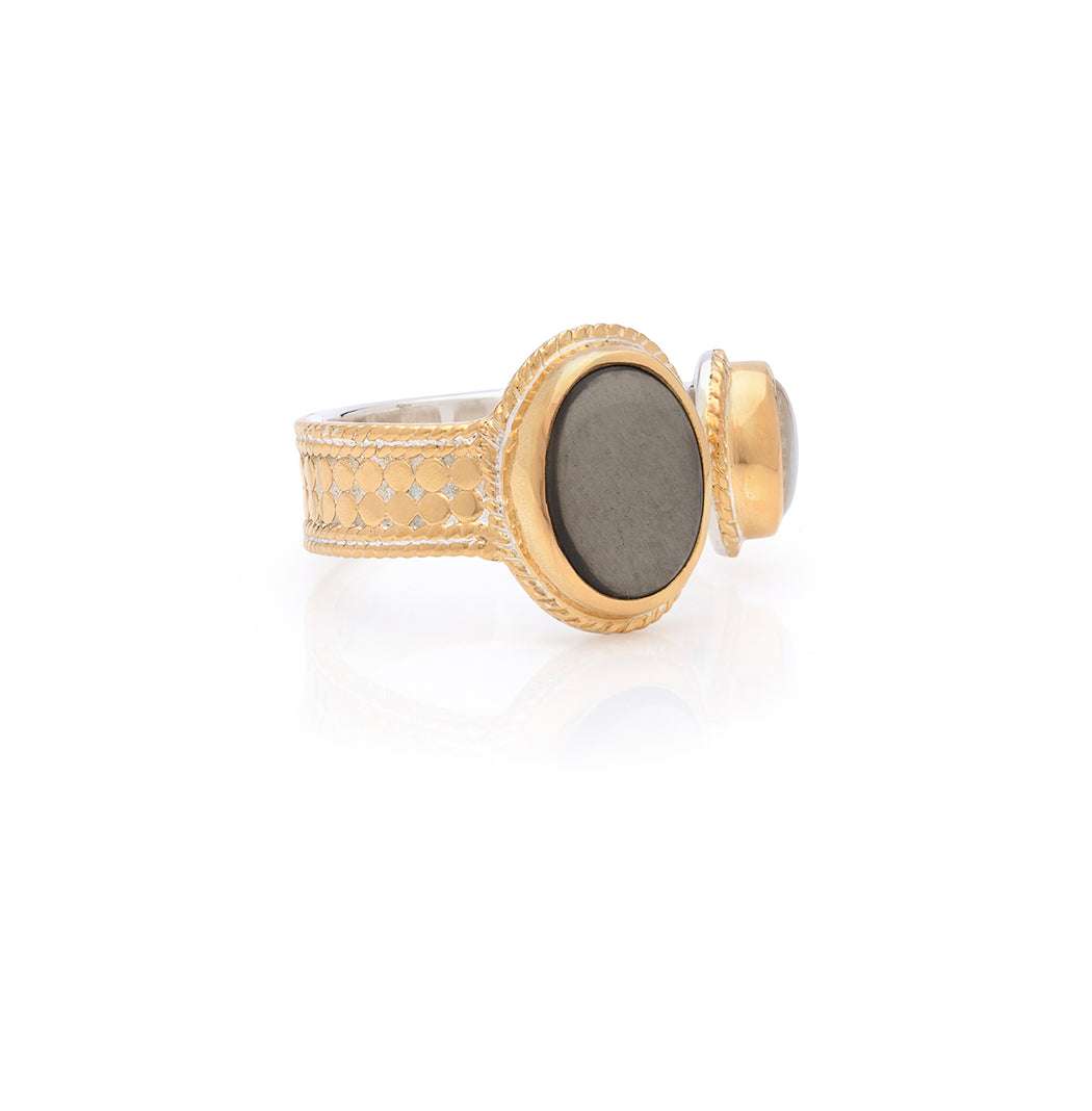 Smoky Pyrite & Mother of Pearl Open Ring - Gold