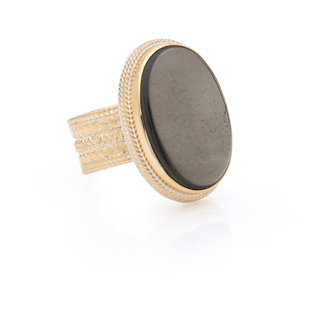 Smoky Pyrite Cocktail Ring - Gold