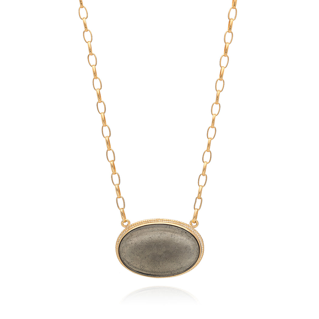 Smoky Pyrite Pendant Necklace - Gold