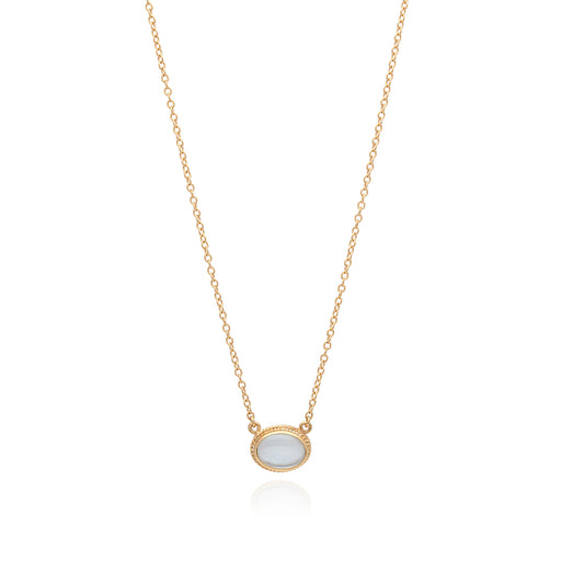 Mother of Pearl Oval Pendant Necklace - Gold