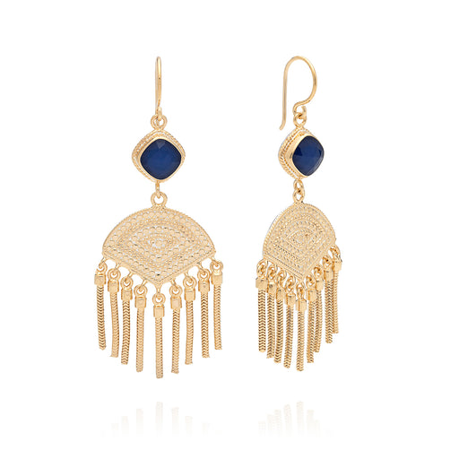 Blue Sapphire Cushion Double Drop Fringe Earrings - Gold