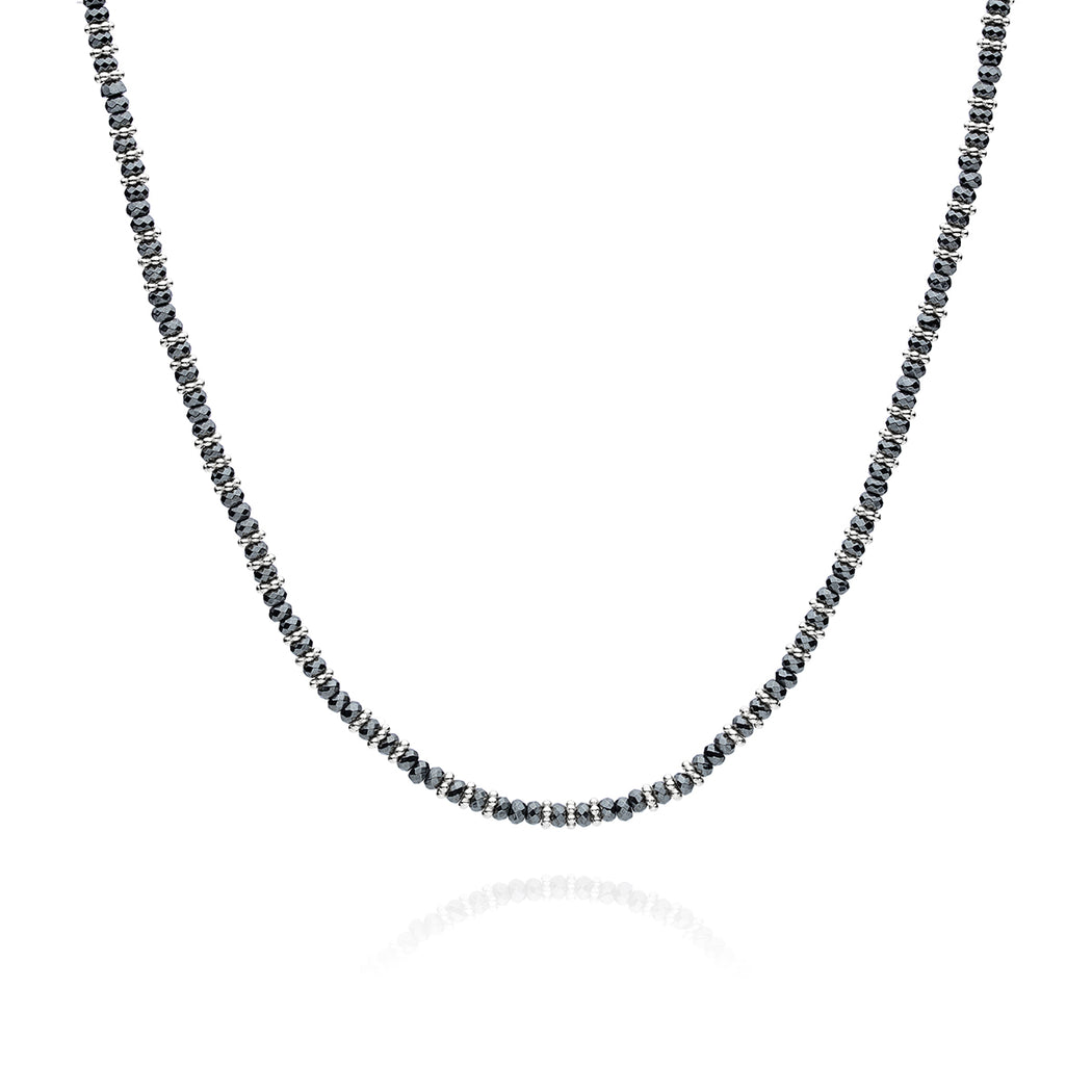 Hematite Beaded Collar Necklace - Silver