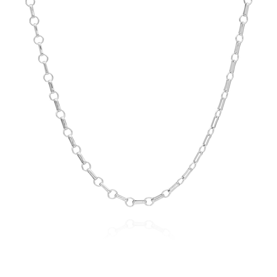 Bar & Ring Chain Collar Necklace - Silver