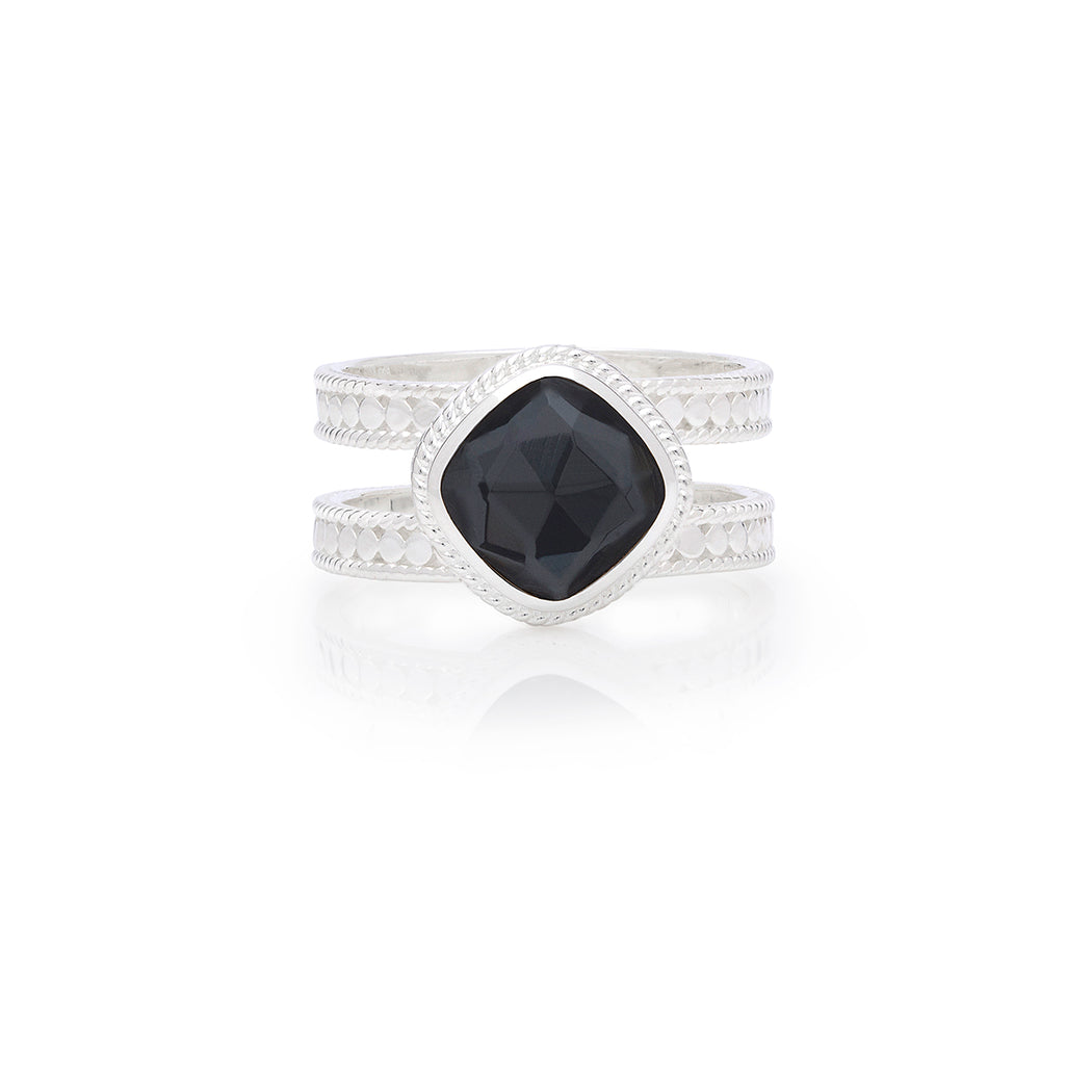 Hematite Cushion Double Band Ring - Silver