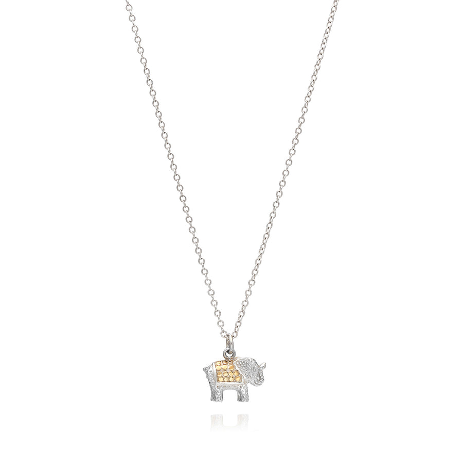 Small Elephant Charm Necklace - Gold & Silver