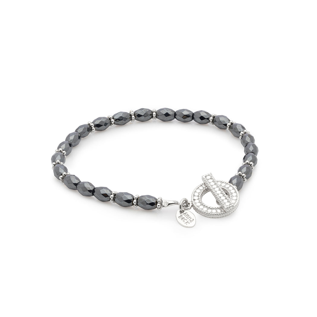 Limited Edition: Exclusive Hematite Beaded Bracelet - Silver
