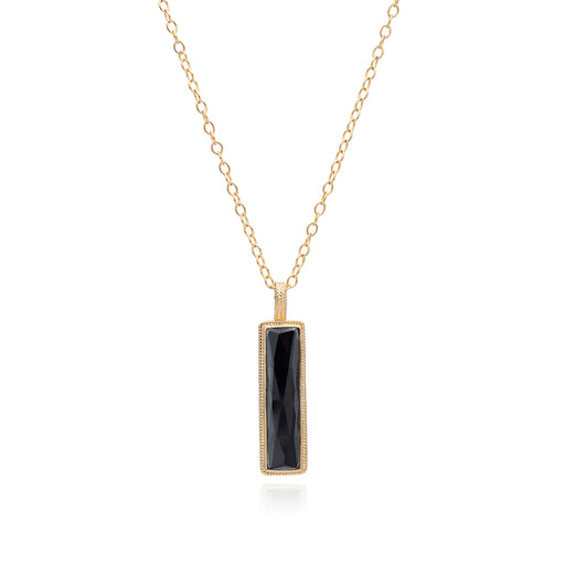 Hematite Linear Bar Pendant Necklace - Gold