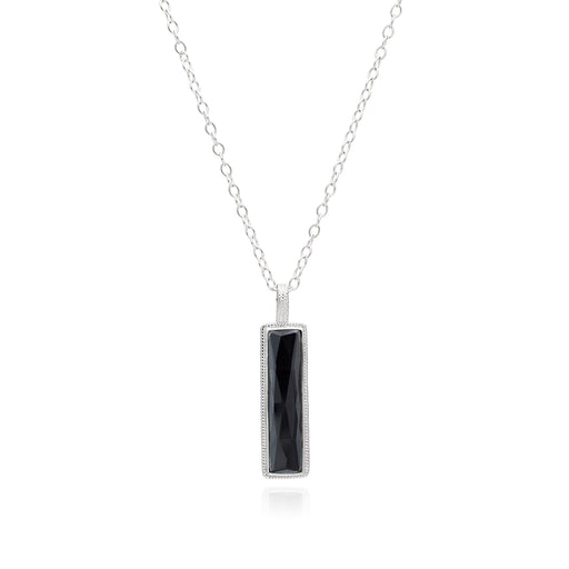 Hematite Linear Bar Pendant Necklace - Silver