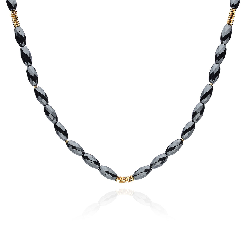 Limited Edition: Hematite Long Beaded Necklace - Gold