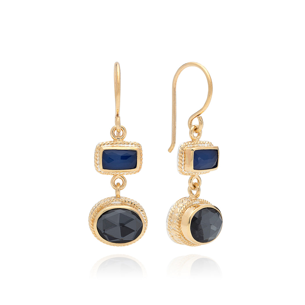 Hematite & Blue Sapphire Double Drop Earrings - Gold