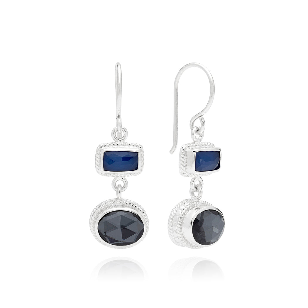 Hematite & Blue Sapphire Double Drop Earrings - Silver
